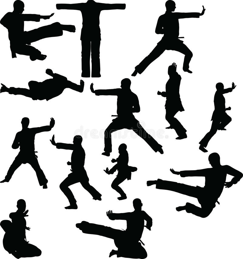 silhouette de karaté, d'isolement sur le fond blanc illustration libre de droits