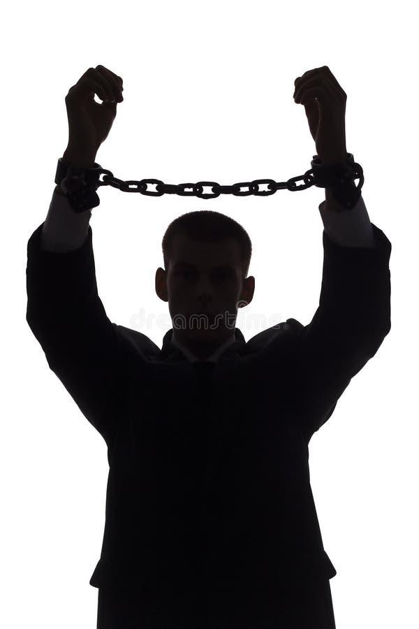 Silhouette de l'homme avec des réseaux photographie stock libre de droits