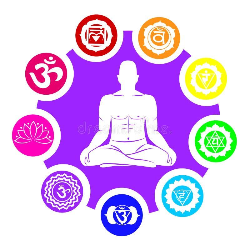 Silhouette de l'homme avec des symboles des chakras illustration stock