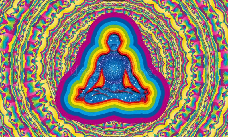 Silhouette de l'homme avec du yoga faisant intérieur de nuit étoilée en position de fleur de lotus avec l'aura de 7 couleurs illustration de vecteur
