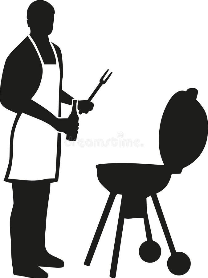 Silhouette de l'homme avec griller tout entier de tablier illustration stock