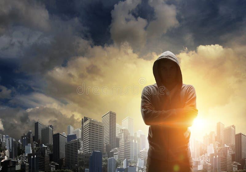 Silhouette de l'homme dans hoody images libres de droits