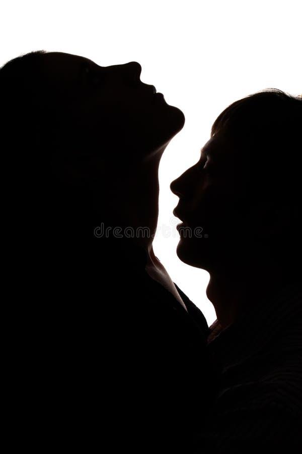 Silhouette de l'homme et de femme photos libres de droits