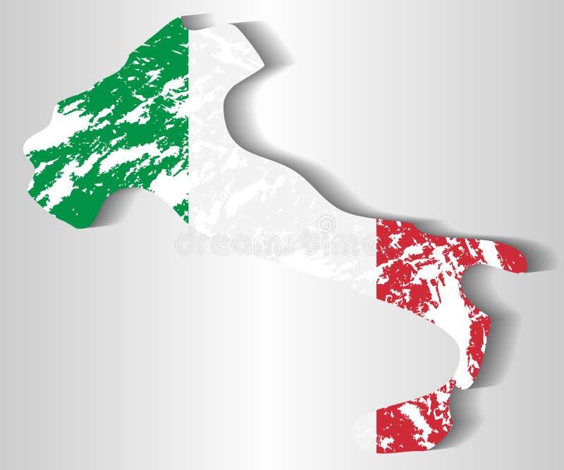 Silhouette de l'Italie contre le drapeau italien illustration libre de droits