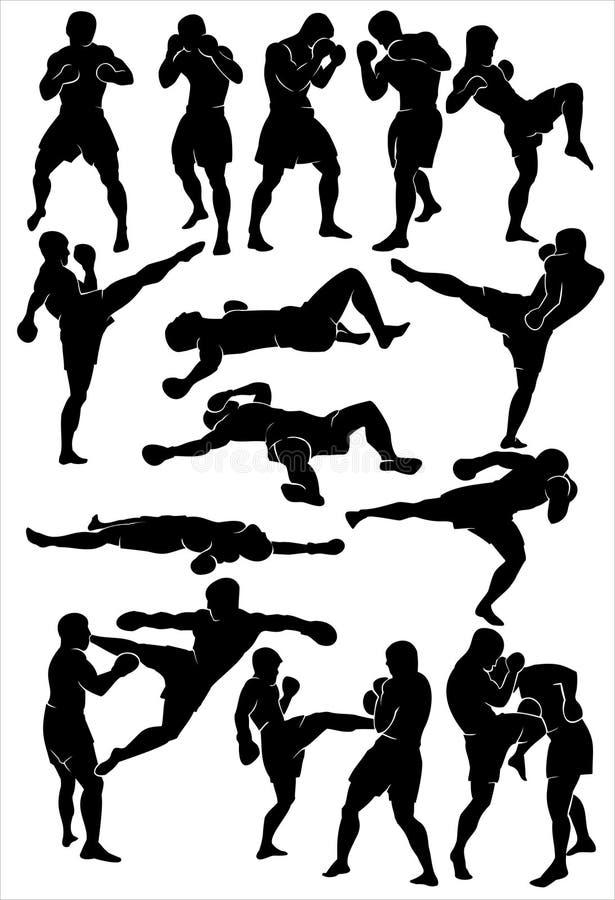 Silhouette de la boxe thaïe illustration de vecteur