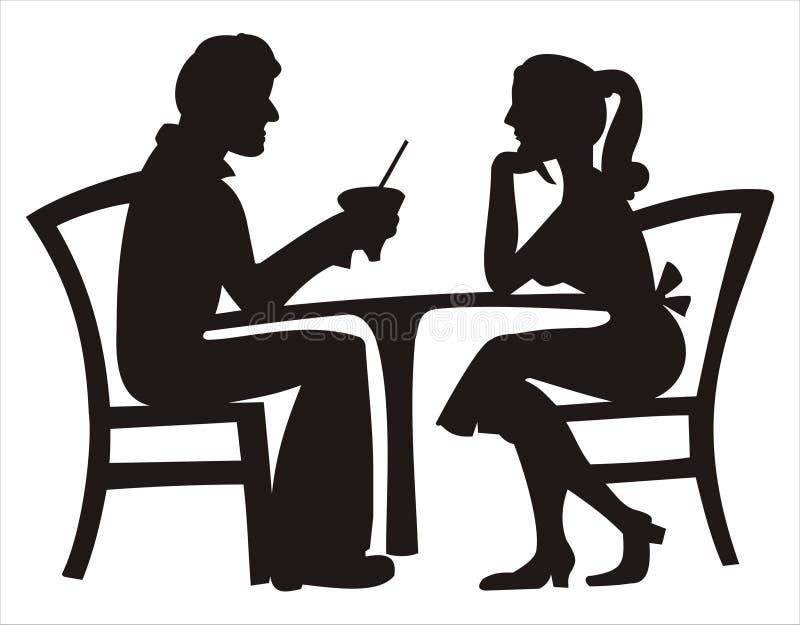 Silhouette de la datation de couples illustration de vecteur