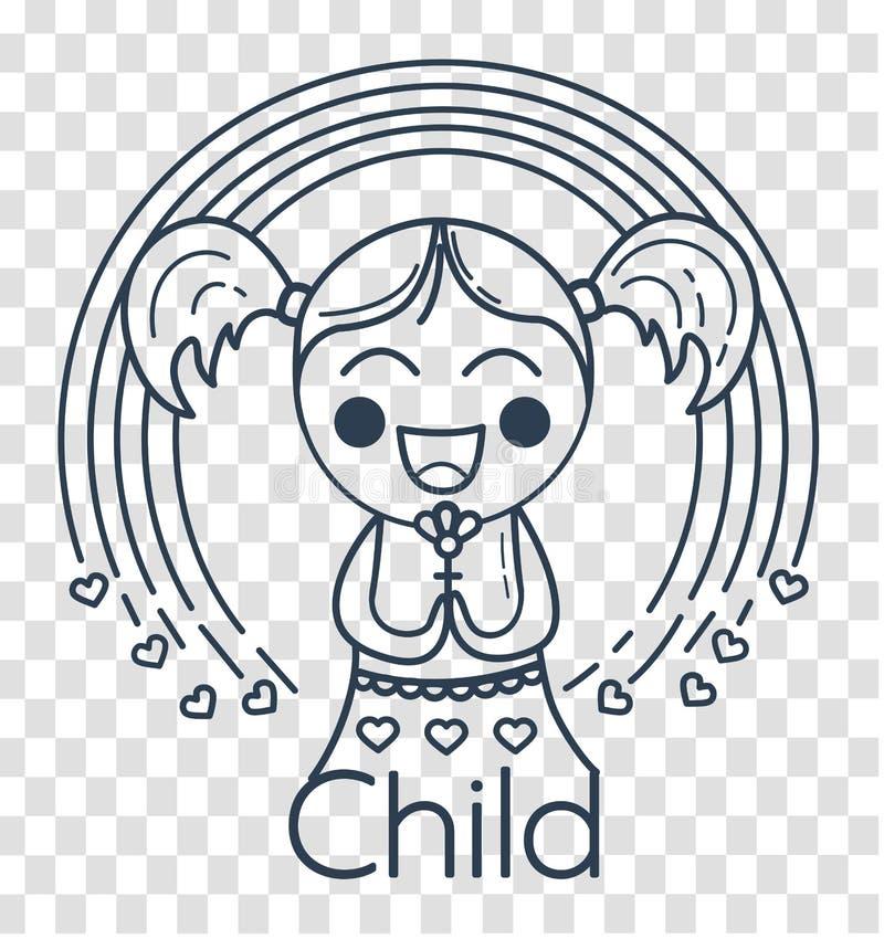 Silhouette de la fille de la créativité des enfants illustration de vecteur