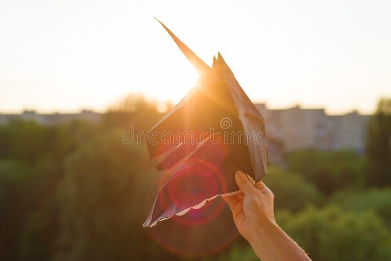Silhouette de la licorne noire principale du papier 3d sur le fond de coucher du soleil photo libre de droits