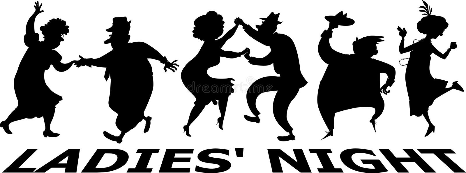 Silhouette de la nuit des dames illustration stock