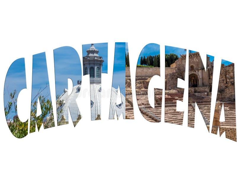 Silhouette de la photo du texte du nom de la ville. Carthag?ne, Espagne photos libres de droits