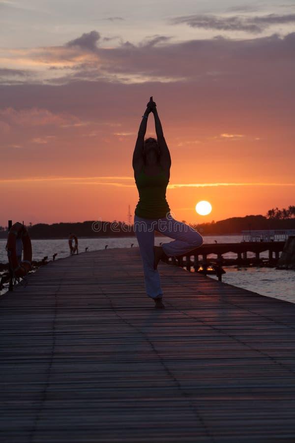 Silhouette de la position de yoga photo stock