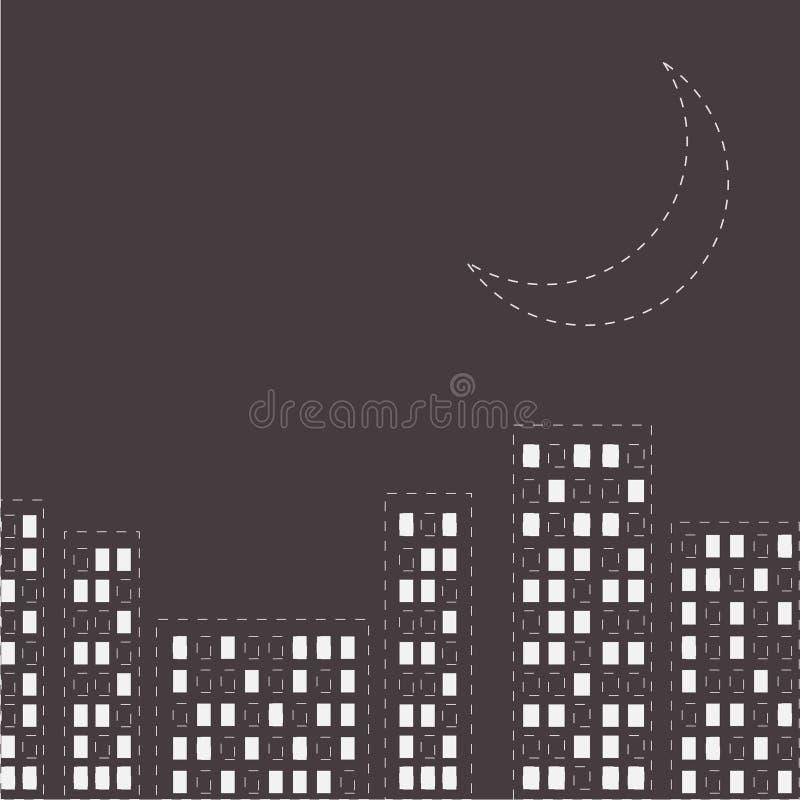 Download Silhouette De La Ville De Nuit Ligne Lune De Tiret Dans Le Ciel Conception Plate Illustration de Vecteur - Illustration du gris, construction: 45369287