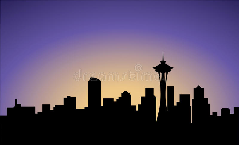 Silhouette de la ville de Seattle, Etats-Unis illustration stock