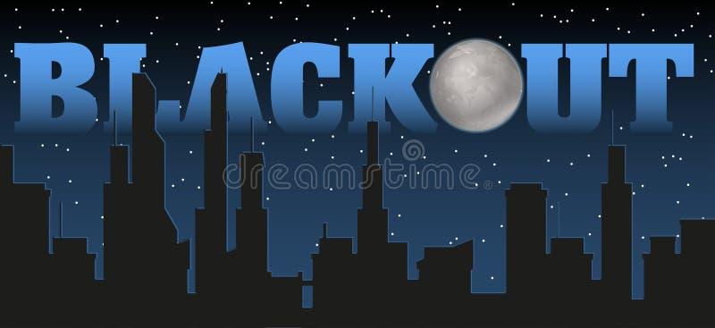 Silhouette de la ville et de la nuit avec les étoiles, la lune d'imbécile au ciel foncé et le titre de panne d'électricité illustration stock
