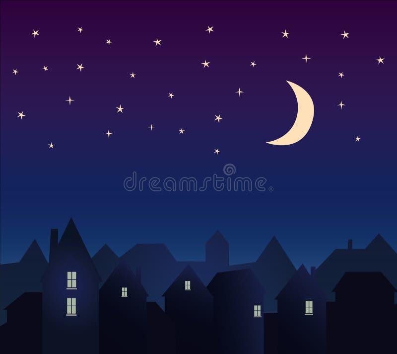 Silhouette de la ville et du ciel nocturne avec des étoiles illustration de vecteur