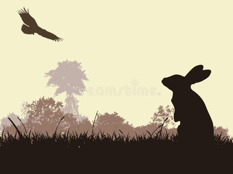 Silhouette de lapin avec le vol d'aigle illustration stock