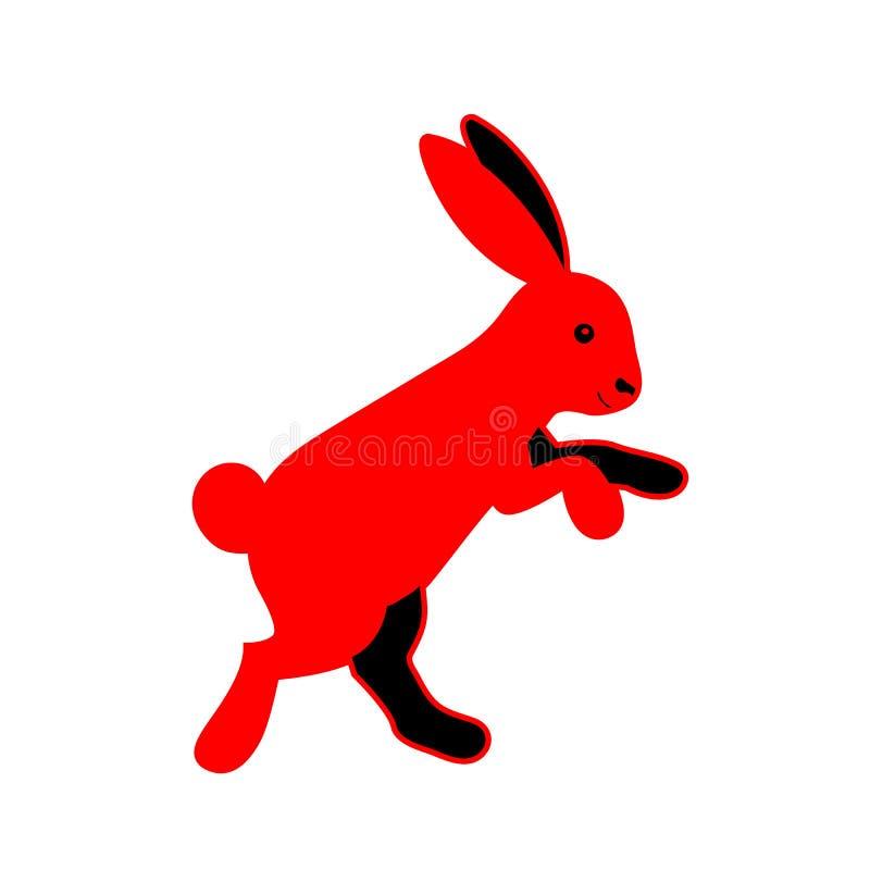 Silhouette de lapin d'isolement sur le fond blanc illustration stock
