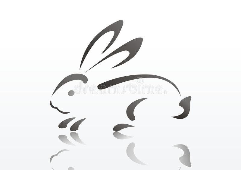 Silhouette de lapin. symbole de 2011 ans illustration stock