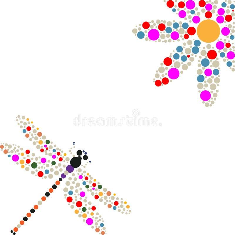 Silhouette de libellule et de fleur illustration de vecteur