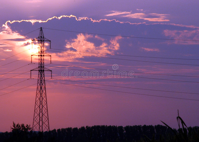 Silhouette de ligne électrique photo stock