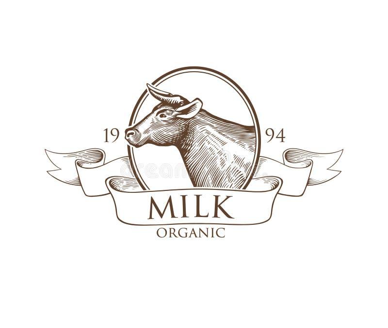 Silhouette de Logo Cow dans une camée avec des rubans illustration stock
