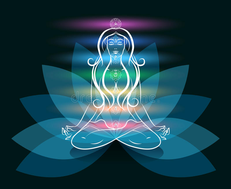 Silhouette de lotus de femme de méditation de yoga illustration libre de droits