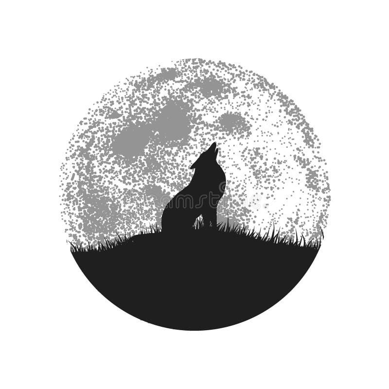 Silhouette de loup d'hurlement sur le fond de pleine lune illustration libre de droits