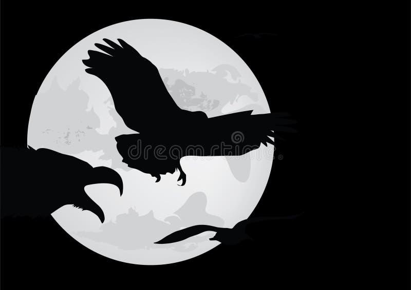 Silhouette de lune et d'oiseau illustration de vecteur