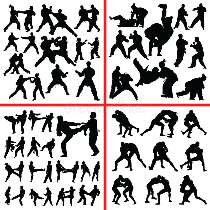 Silhouette de mélange d'art martial illustration stock