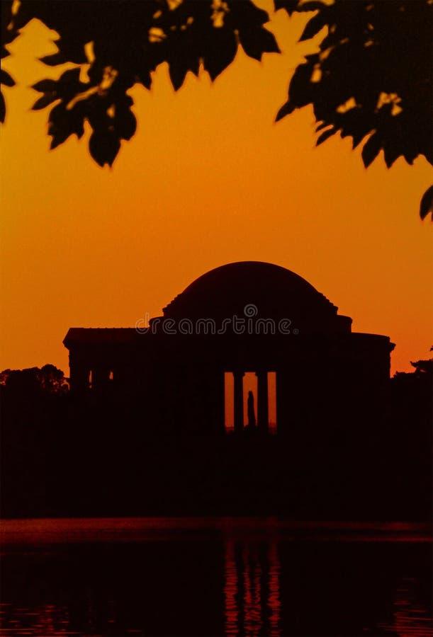 Silhouette de mémorial de Jefferson images libres de droits