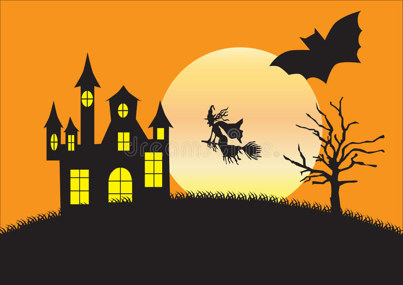 Silhouette de maison, de sorcière et de chauve-souris étranges illustration libre de droits