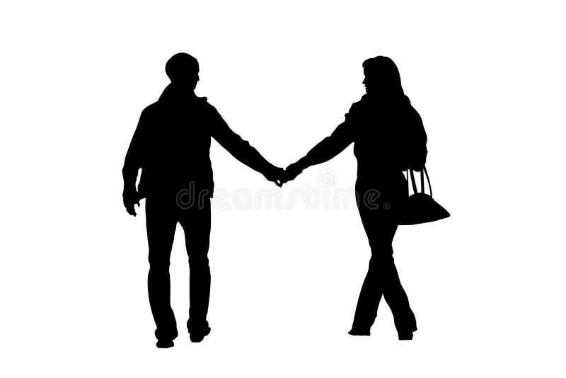 Silhouette de marche de couples illustration stock