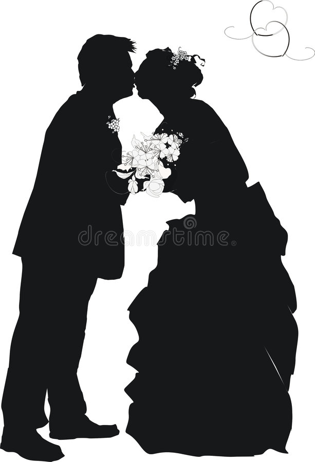 Silhouette de mariage illustration libre de droits