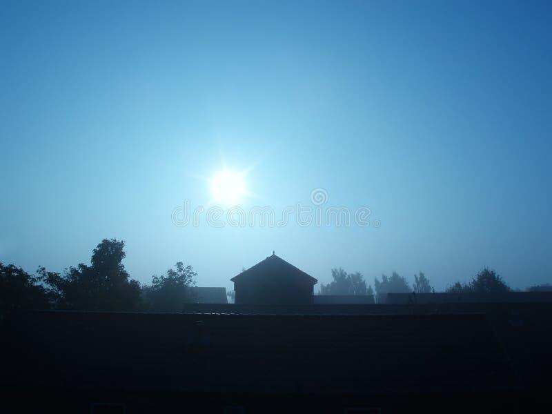 Silhouette de matin d'â d'extrémité de Chambre photographie stock