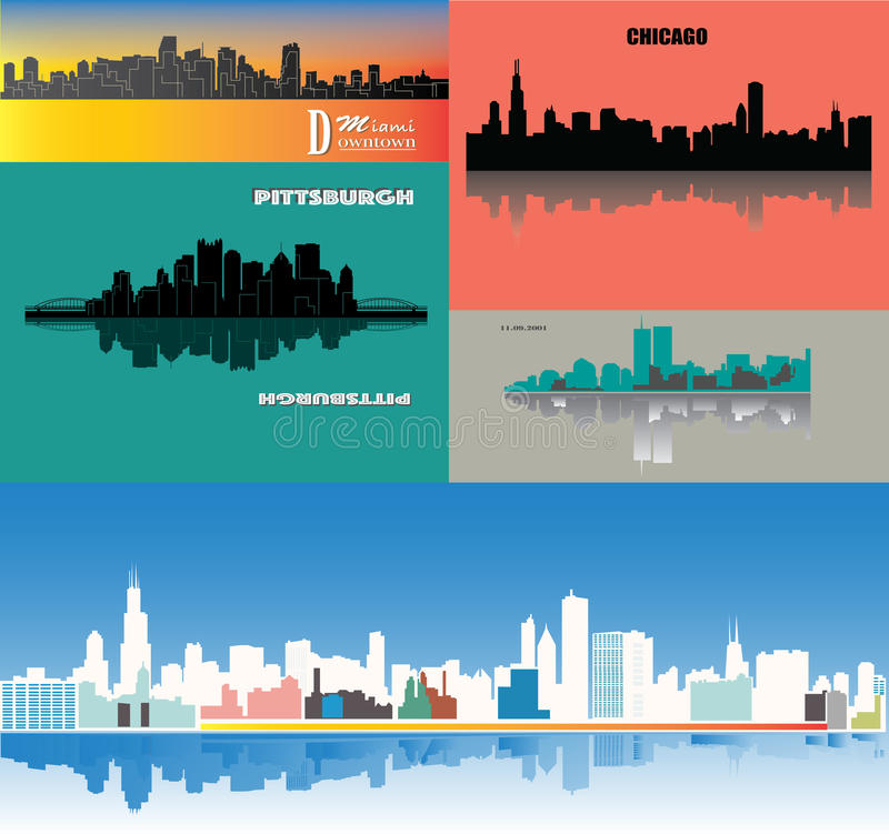 Silhouette de Miami, Pittsburgh, Chicago, New York - - - couleur vive - bâtiments extensibles - conception plate d'affiche illustration stock