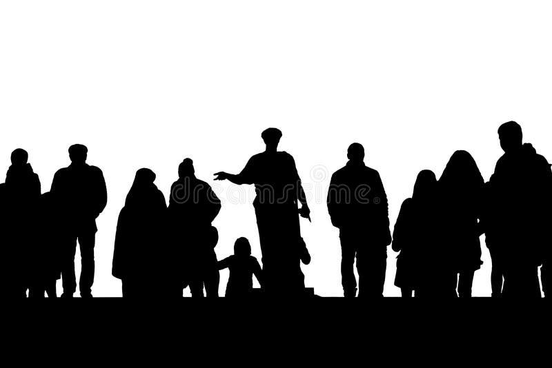 Silhouette de monument de Duke de Richelieu parmi des personnes sur des escaliers de Potemkin à Odessa, Ukraine illustration de vecteur