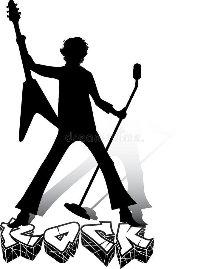 Silhouette de musicien avec la guitare et le microphone illustration stock