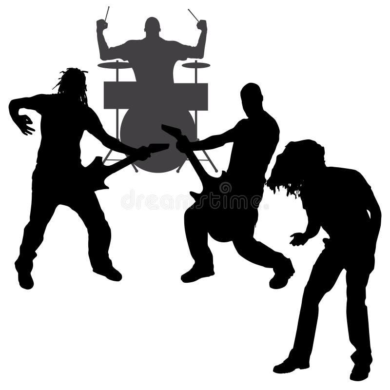 Silhouette de musiciens de vecteur illustration stock