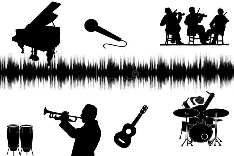 Silhouette de musique photo stock