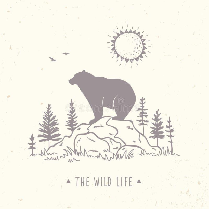 Silhouette de nature d'ours illustration stock