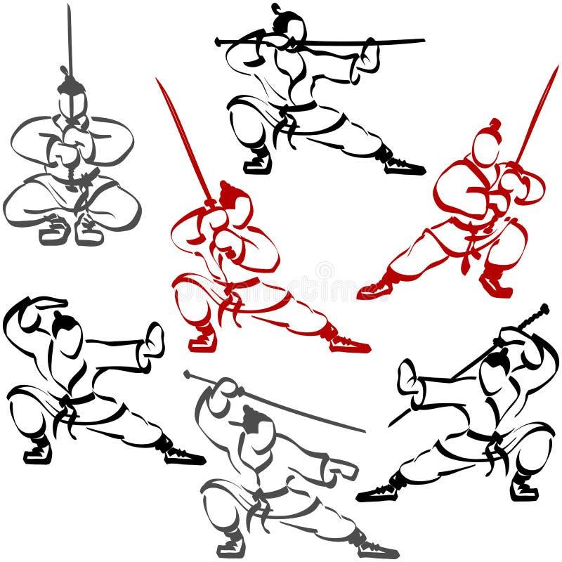 Silhouette de Ninja Karate Katana Sport Ink Set People de samouraïs illustration de vecteur