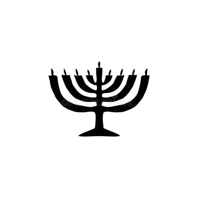 Silhouette de noir de bougie de Hanoukka Vacances religieuses juives de Hanoucca Illustration de vecteur sur le fond d'isolement illustration libre de droits