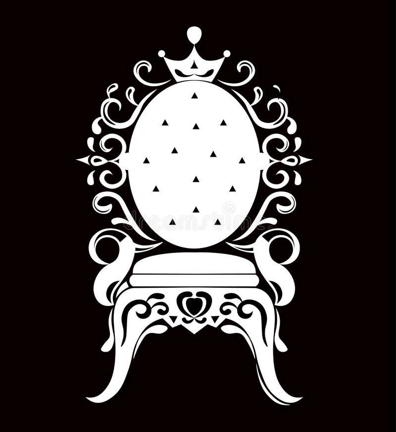 Silhouette de noir de fauteuil de vintage Les riches de luxe français ont découpé les meubles décorés par ornements Style royal v illustration libre de droits