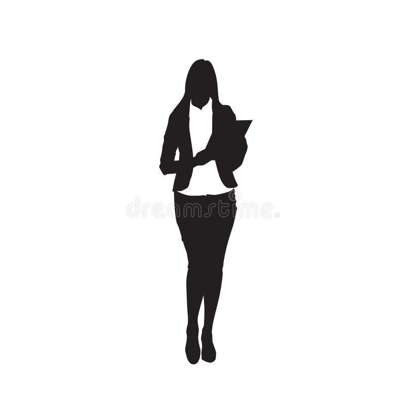 Silhouette de noir de femme d'affaires jugeant le dossier intégral au-dessus du fond blanc illustration stock