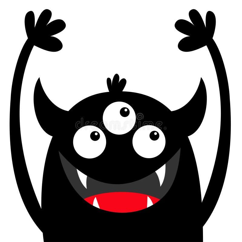 Silhouette de noir de t?te de monstre Trois yeux, croc de dents, klaxons, mains  Caract?re dr?le de bande dessin?e mignonne de ka illustration stock