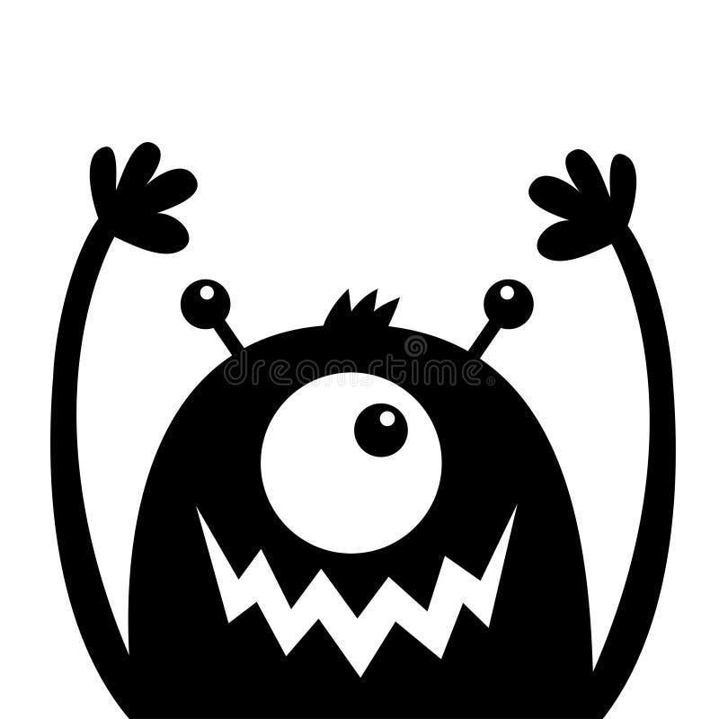 Silhouette de noir de t?te de monstre Un oeil, bouche de croc de dents, klaxons, mains  Caract?re dr?le de bande dessin?e mignonn illustration libre de droits