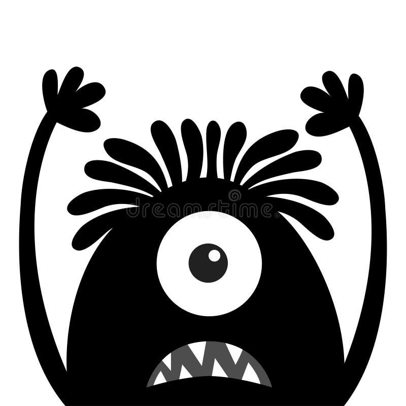 Silhouette de noir de t?te de monstre Un oeil, cheveux, croc de dents, langue, mains  Veille de la toussaint heureuse Caract?re d illustration de vecteur