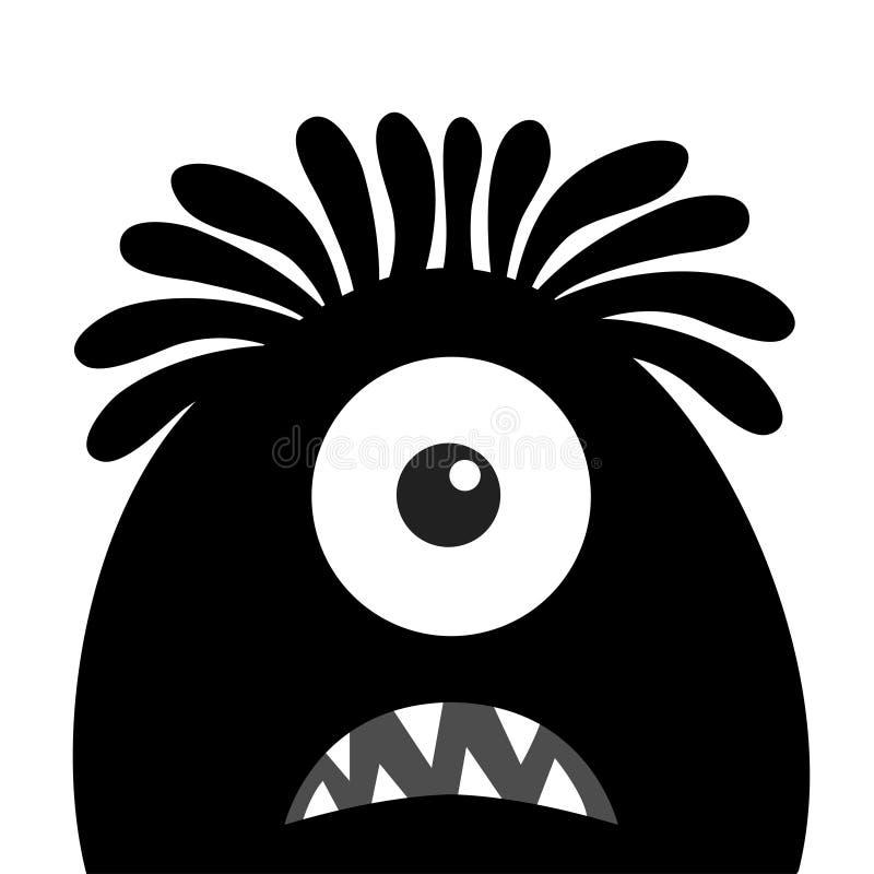 Silhouette de noir de t?te de monstre Un oeil, cheveux, croc de dents Veille de la toussaint heureuse Caract?re dr?le de kawaii m illustration de vecteur