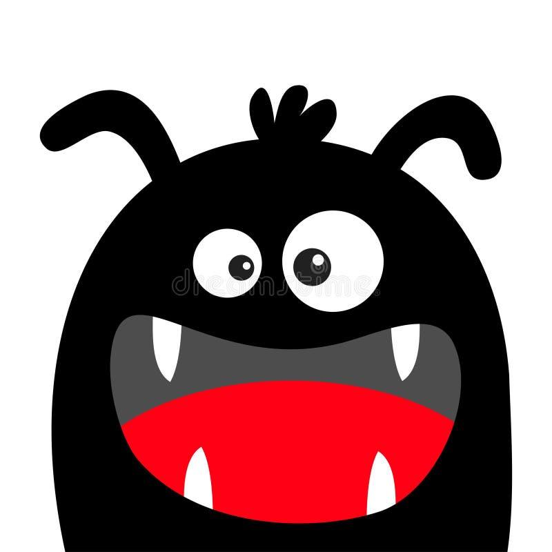 Silhouette de noir de t?te de monstre Veille de la toussaint heureuse Deux yeux, oreilles, croc de dents, langue Caract?re dr?le  illustration stock