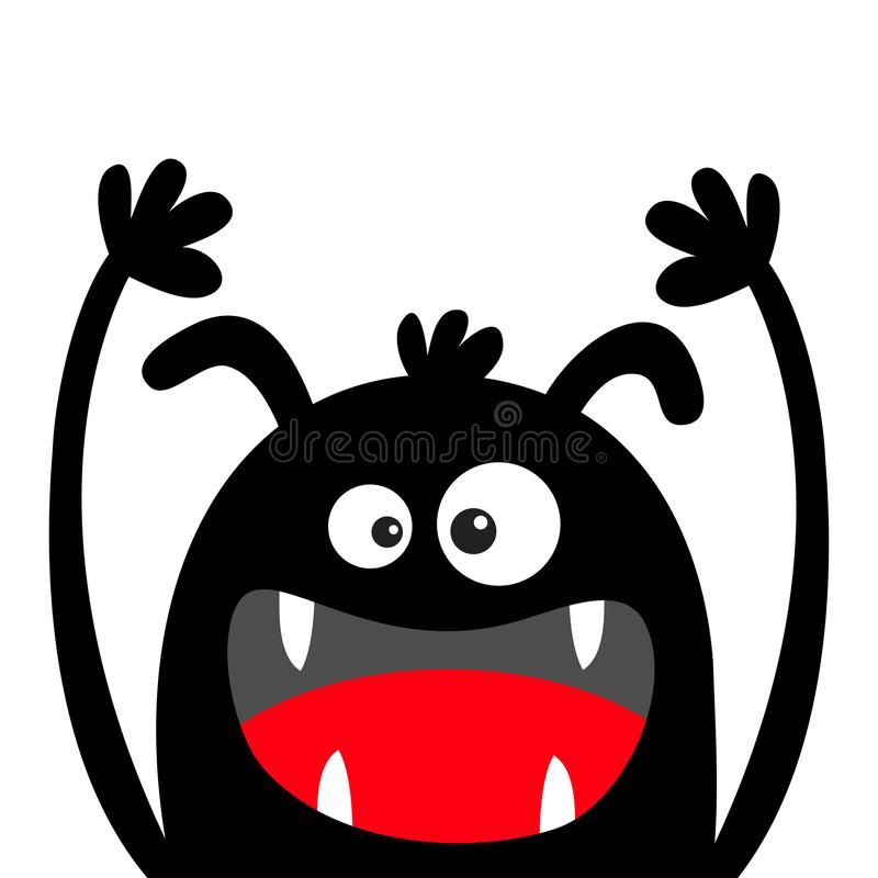 Silhouette de noir de t?te de monstre Veille de la toussaint heureuse Deux yeux, oreilles, croc de dents, langue, mains  Caract?r illustration stock